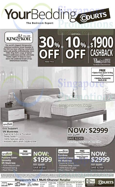 King Koil Bamboo Mattress by King Koil Mattresses Eco Support Posture Saver Serenity