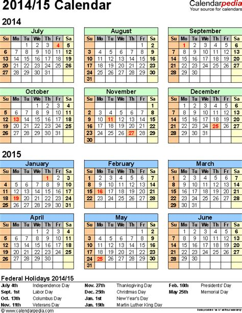 split year calendar 2014 2015 printable excel templates