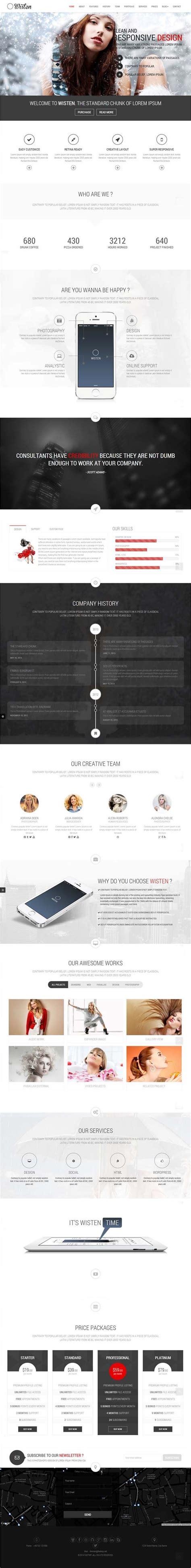 design inspiration wordpress wisten wordpress one page parallax theme wordpress