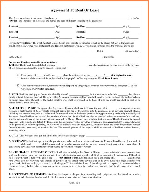 7 Apartment Rental Agreement Template Word Purchase Apt Lease Template
