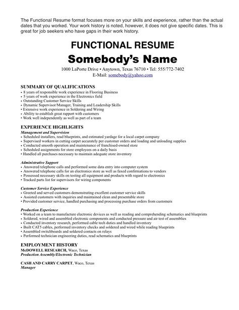 Work History Resume Format by Resume History Resume Ideas
