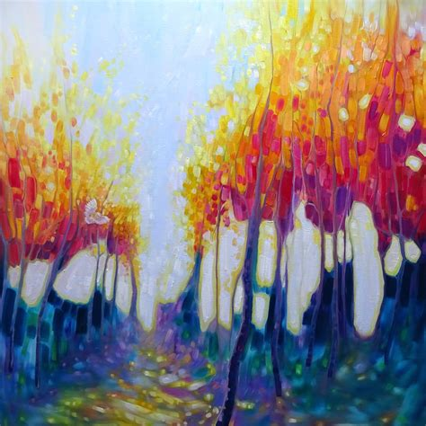 large artwork original oil painting the hunter s shimmering forest a