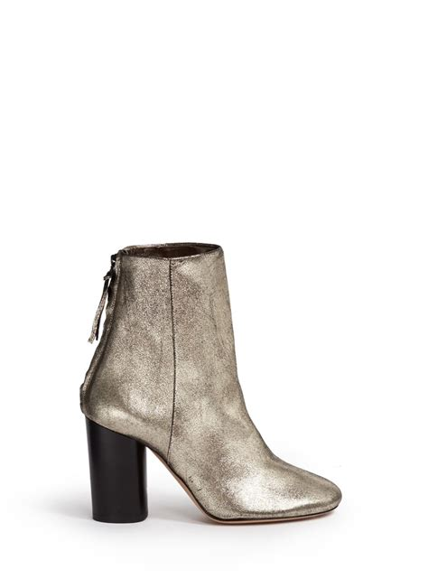 metallic boots marant cracked leather ankle boots in metallic lyst