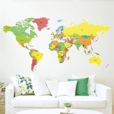 Large World Map Wall Sticker large countries of the world map wall sticker by the