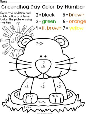 groundhog day kindergarten worksheets alfa img showing gt winter color by number subtraction