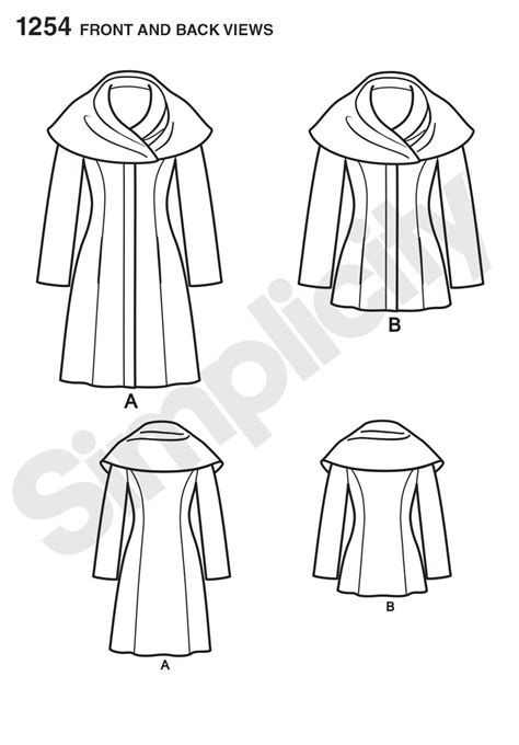 coat pattern ease simplicity 1254 misses leanne marshall easy lined coat or
