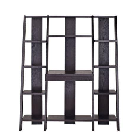 ladder bookcase with desk altra furniture ladder bookcase with desk in espresso finish 9802196