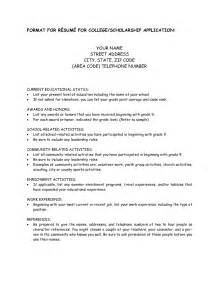 resume sle for scholarship resume format for scholarship application resume format