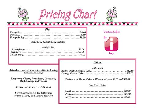 cake price list template pricing fit for you issy s custom cakes