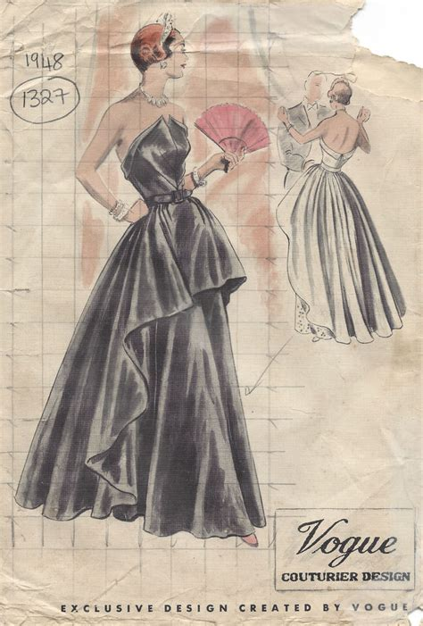 vintage gown pattern 1948 vintage vogue sewing pattern b38 evening dress gown
