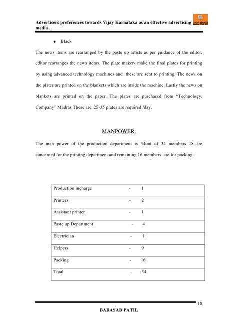 Mba In Central Of Karnataka by Advertisers Effectiveness Vijay Karnataka Mba Project Report