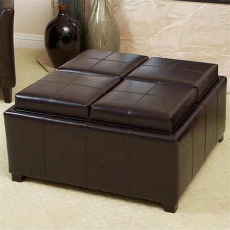 Tray Top Storage Ottoman Trent Home Tray Top Storage Ottoman In Espresso Brown 515022cy