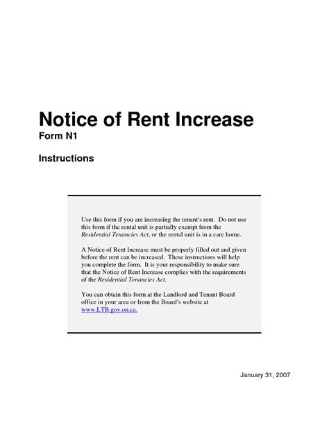 Raise Rent Form Letter Notice Of Rent Increase Sle Search Formal