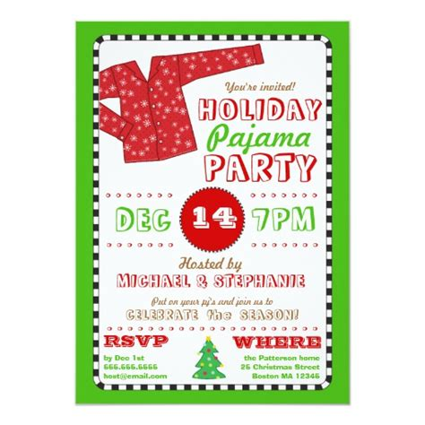 ideas for funny christmas pajama party pajama invitation zazzle