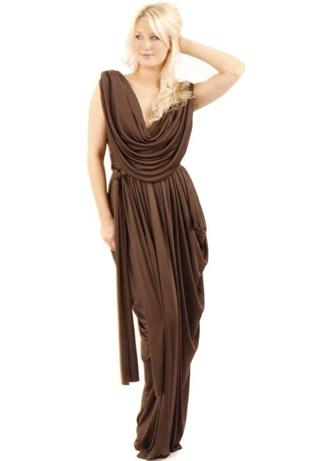 dress drape join grecian dress brown grecian drape dress brown
