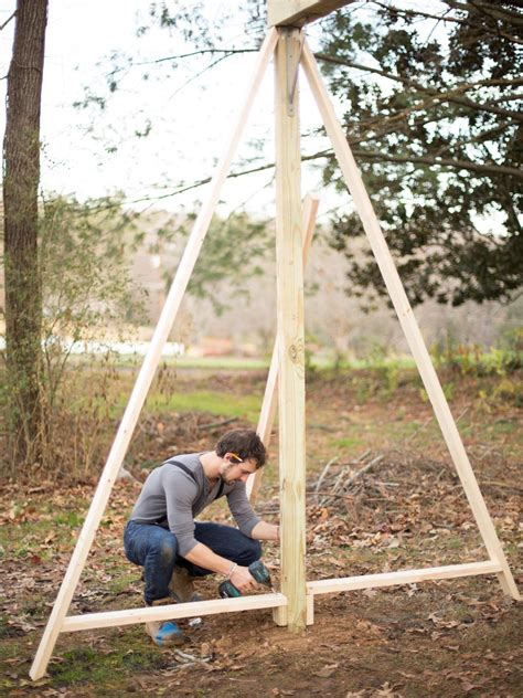 how to make swings how to build a modern a frame swing set hgtv