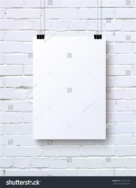 poster mock up on the brick wall stock vector image white blank vertical poster mock up on the white brick