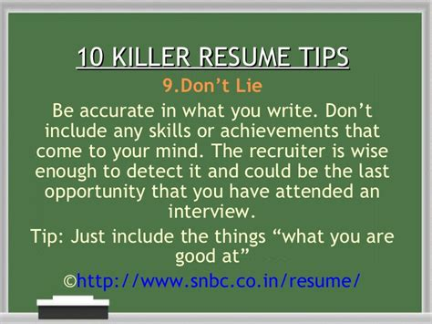 9 Resume Killers by 10 Killer Resume Tips