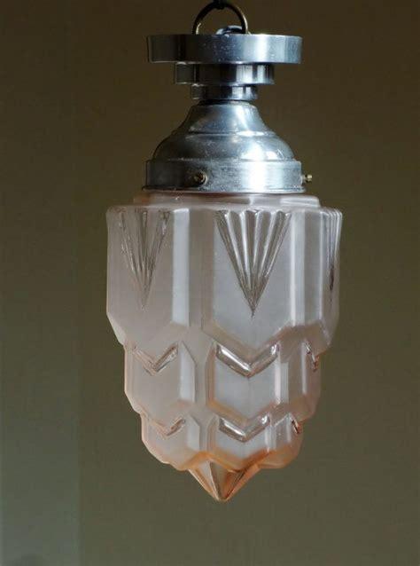 1930s Light Fixtures Deco Skyscraper Light Fixture 1930s Light Pink Glass A