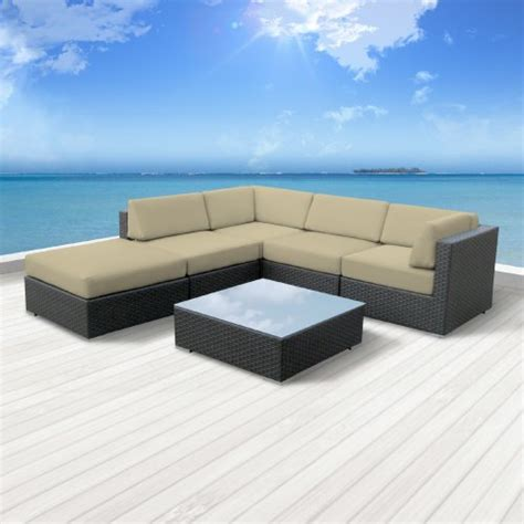 Light Wicker Outdoor Furniture Luxxella Outdoor Patio Wicker Beruni Light Beige Sofa Sectional Furniture 6pc All Weather