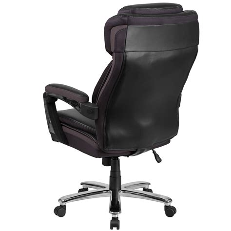 500 lb capacity executive leather office chair with gas lift hercules series 500 lb capacity big black leather