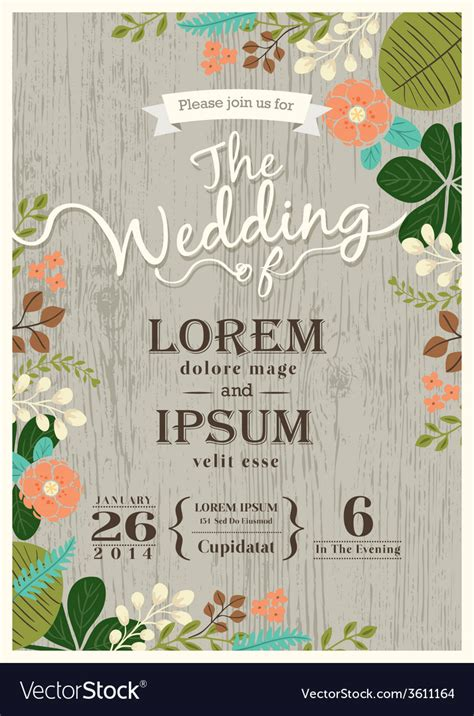 free invitation card designs 5 vintage wedding invitation card floral background vector image