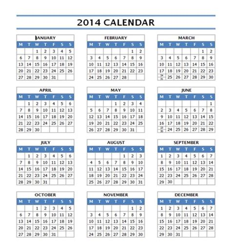 word 2014 calendar template 2014 year calendar free microsoft word templates