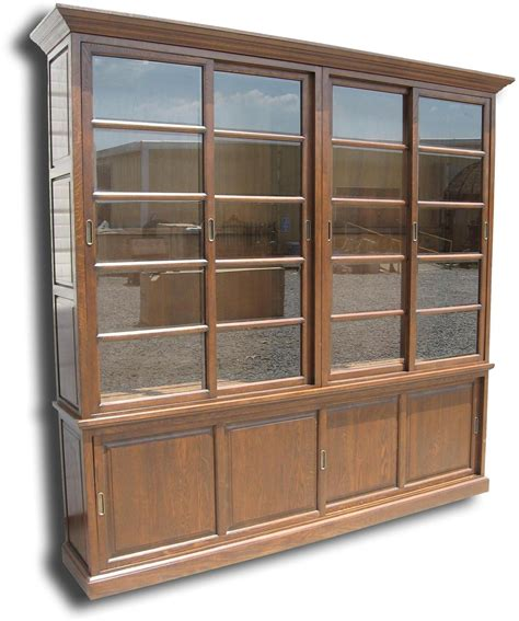 Bookcases With Glass Doors New Bookcase Solid Oak Wood Antique Finish Sliding Doors Glass Doors Ebay