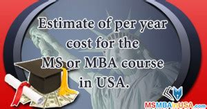 After Mba In Usa by Cost Of Education Ms Mba In Usa