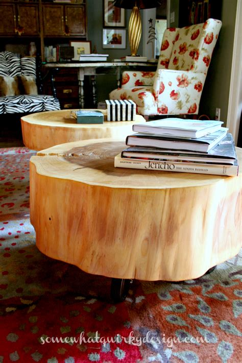 hometalk diy table from large tree slices