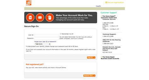 Home Depot Login Page by Home Depot Credit Card Login Make A Payment