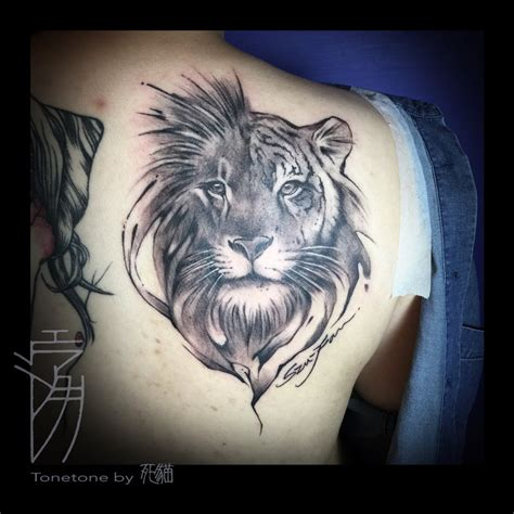 tiger and lion tattoo designs half half tiger by sakura1690 drawing