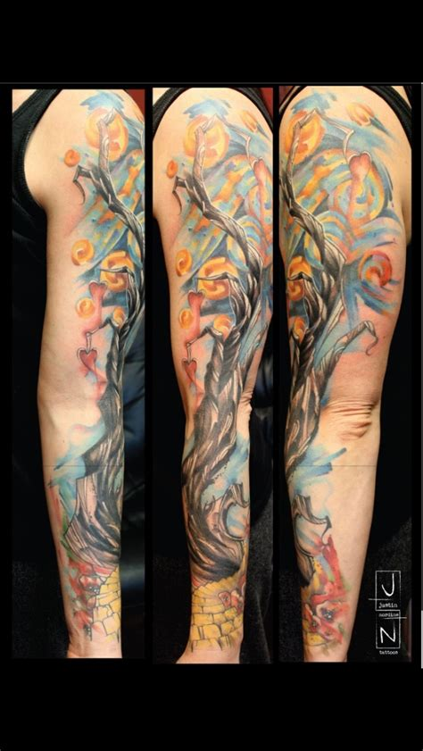 watercolor tree tattoo sleeve 45 colorful tree of tattoos