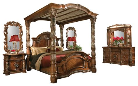 king size canopy bedroom sets 5 piece villa valencia king size canopy poster bedroom set