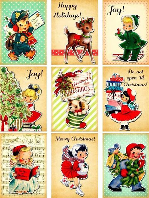 printable old fashioned christmas gift tags 9 christmas children retro vintage 155 lb scrapbook