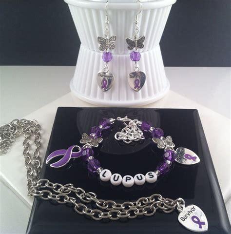 lupus awareness necklace earring bracelet set purple