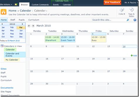 Calendar Sharepoint Calendars In Sharepoint 2010 Part 2 With Exchange