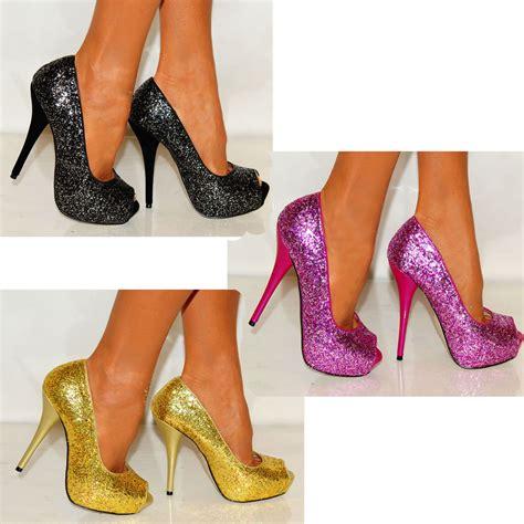 Black Pink High Heels Shoes womens purple pink gold black glitter peep toes