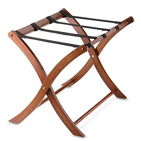 bed bath and beyond luggage rack solid wood luggage rack in walnut bed bath beyond