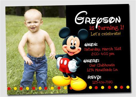 mickey mouse photo birthday invitations mickey mouse photo birthday