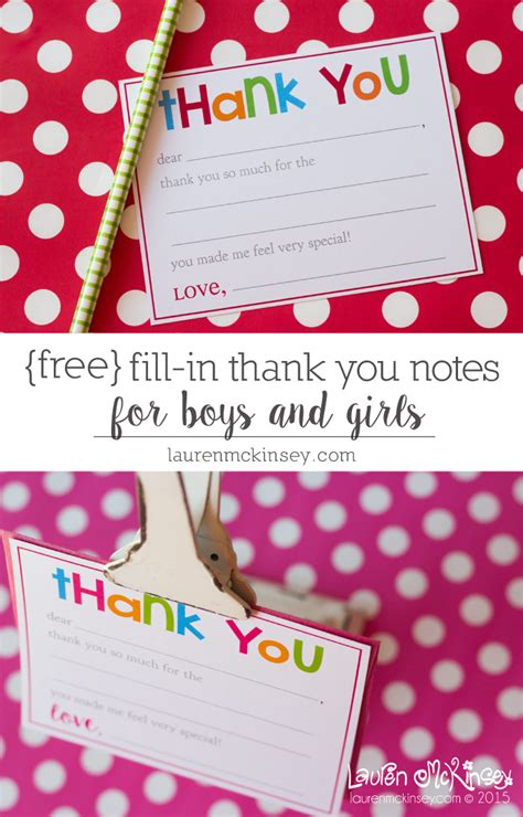 printable kid thank you cards with fill in the blanks fill in thank you notes freebie note birthdays and