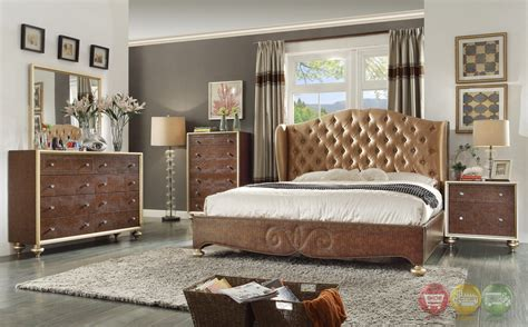 tufted bedroom furniture glamorous brown button tufted wing back bed faux croc