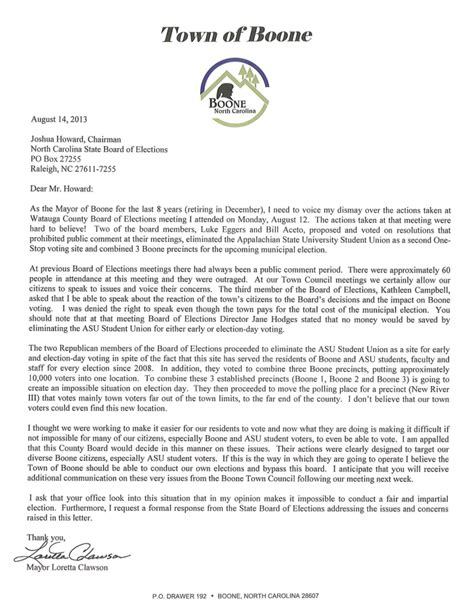 Invitation Letter Chair Conference Boone Mayor Pens Letter To State Board Of Elections Chair Voices Dismay Watauga