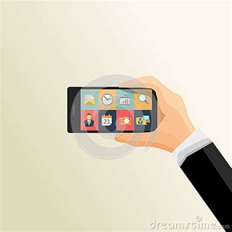 flat mobile flat vector illustration of human holding mobile