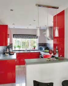modern kitchen design in revolutionizing bold red color
