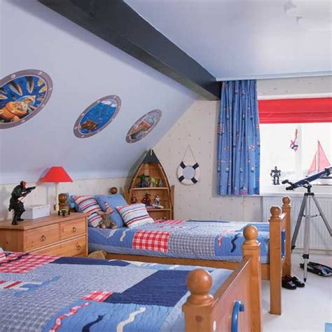 Boy Bedroom Ideas by Nautical Boys Bedrooms With Boat Shaped Shelving Boys