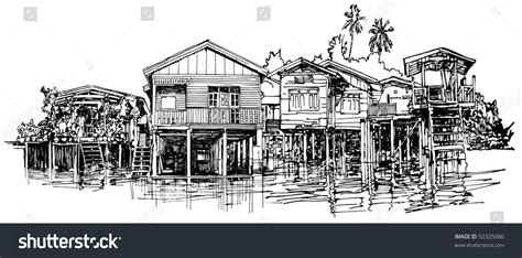 thailand boat drawing hand drawing of typical house along the canal near bangkok