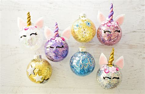 Making Christmas Decorations At Home Diy Glitter Unicorn Ornaments