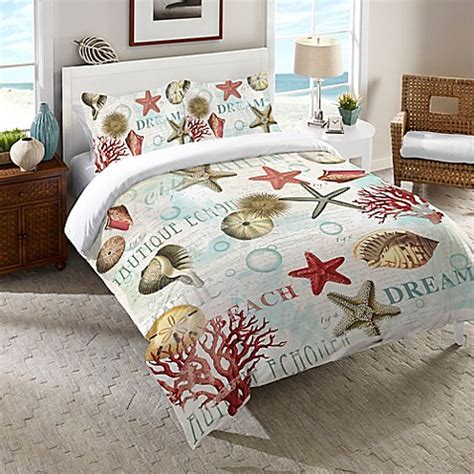 beach themed comforter sets twin laural home 174 dream beach shells comforter in red bed