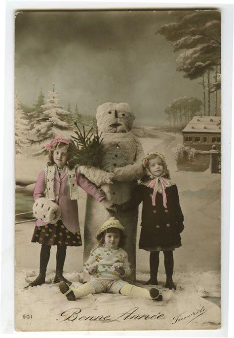 vintage child children  winter snowman snowmen tinted photo postcard ebay snowman